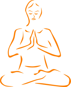 A illustration of a man practicing yoga