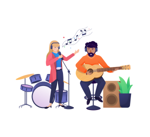 An illustration of two people which are creating music